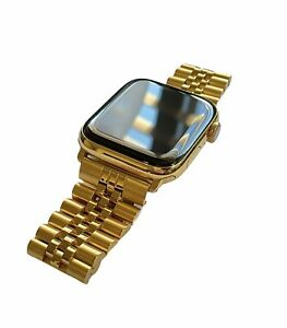 24K Gold Plated 44MM Apple Watch SERIES 6 Stainless Steel 2 Tone Band GPS LTE O2