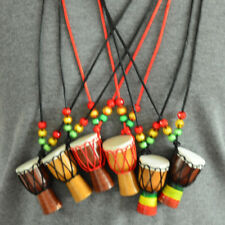 Unisex Ethnic Wood Djembe Pendant African Drum Jewelry Necklace Ornament Gifts