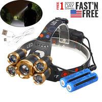 900000LM 5X T6 LED Headlamp USB Rechargeable 18650 HeadLight Flashlight Torch US