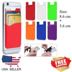 1PC Silicone Credit Card Holder Cell Phone Wallet Pocket Stickers Adhesive USA