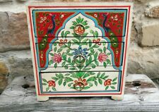 Hand Painted Indian Chest of Drawers, Floral Peacock, Fair Trade, Made in India