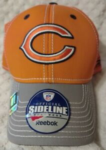 """Chicago BEARS"" NFL Reebok HAT Orange/Gray Adult Size Stretch Fit (M/L) $28 NWT"