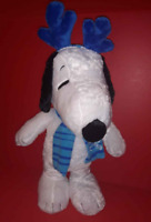 NEW Peanuts SNOOPY DOLL PORCH DOOR GREETER Christmas w/ Antlers Snowflake Scarf