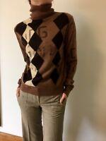 DOLCE & GABBANA Brown 100% Cashmere Rhomb Turtle Neck Sweater Jumper Sz Small
