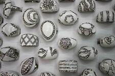 Wholesale bulk 35pcs pretty white enamel clear rhinestone lady's rings GS28