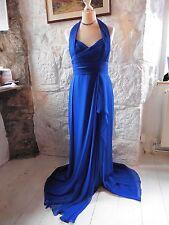 Stunning Marchesa Notte Royal Blue Silk Halterneck Ball Gown Maxi Dress 12 Prom