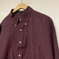 """Tommy Hilfiger Mens Shirt Long Sleeve 17/34 Red """"The Lifetime Collar"""" P2P 27"""" XL"""