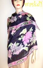 """LEONARD Paris navy blue & pink FLORAL 53"""" silk chiffon SHAWL scarf NIB Authentic"""