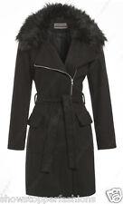 New Women Wool Blend Winter Coat Detachable Fur Collar Long Jacket Size 8 to 16