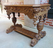 Antique French Carved Bleached Oak Wood Dolphin Library Desk Renaissance Table