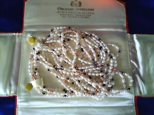 4 Vintage Freshwater 'Seed / Rice' Pearl Necklaces with Lapis Lazuli & Coral