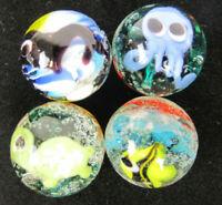 4 AQUARIUS Marbles Seal, Tortoise, Octopus, Angle Fish 16mm Handmade art glass