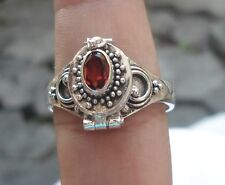 925 Solid Silver Balinese Poison/Wish Box Ring Garnet Cut Size 9-H66