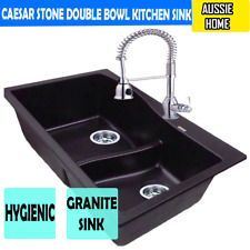 KASA Black Pearl Caesar Stone Double Bowl Kitchen Sink Scratch Resistant