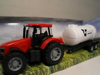 TOY TRACTOR AND TRAILER RED MODEL FARM TRACTOR WITH FARM TRAILER TOY FARMING SET