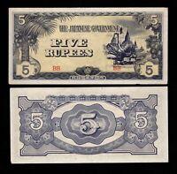 Burma, BANKNOTE, WWII, 1942,  Japanese Government, 5 Rupee, AU/UNC, BU003-C