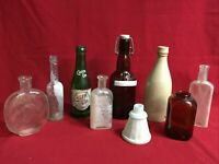 9 Antique and Vintage Glass Bottle Mix Lot #3