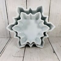 EUC Crate & Barrel Ramekins White Nesting Snowflake Shape Bowl Dish Candy Snacks