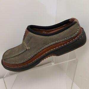 Men's Clarks Olive Green Leathet Slip-On Loafer Shoes Size 7 M