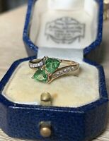 2Ct Trillion Cut Green Emerald  Women's Engagement Ring 14K Yellow Gold Over