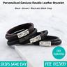 Venice Brown Black Leather & Stainless Steel Mens Personalised Engraved Bracelet