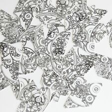 "Long Diamond Sequin 1.75"" Steampunk Clockworks on White Opaque Couture Paillette"
