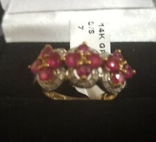 Gorgeous Womens 14K White Gold over Sterling Silver Ruby Designer Ring Size 7
