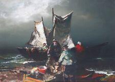 ARTUR UPELNIEK-Russian Modernist-Original Signed Oil-Sailboat/Coastal Scene