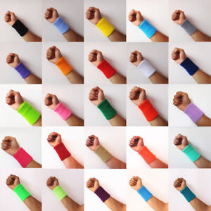 Unisex Women Men Solid Color Cotton Towel Wristbands Running Wristband Sweatband