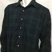 Vtg Pendleton Flannel Sz L Virgin Wool Green Blue Black Watch Tartan Plaid