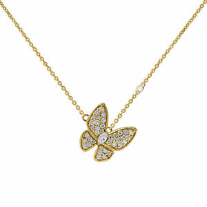 14k Gold Genuine Diamond Butterfly Charm Pendant Necklace Fine Jewelry For Women