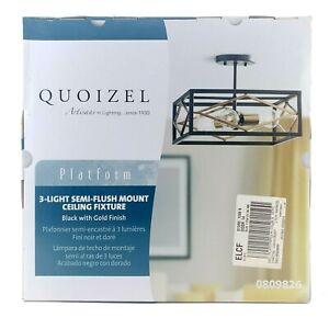 Quoizel Platform 14-in W Black With Gold No Glass Semi-Flush Mount Light