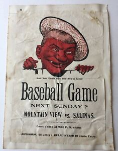 1908? Mountain View vs Salinas Baseball Game Handbill Coast County BB LeagueRare