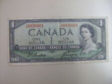1954 Bank of Canada One Dollar $1 Bill  Ungraded