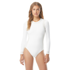 Michael Kors Long Sleeve Rashguard Surf One Piece Swimsuit White Size 10