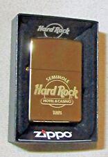 Zippo Lighter Hard Rock Cafe & Casino Tampa Brass Gold Finish Boxed