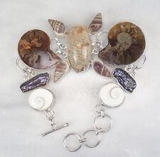 Opulentes Armband Muschel Schnecke Ammonit Perle ca 21-41 cm versilbert