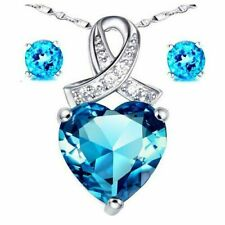 Mabella Heart Blue Topaz Pendant Necklace Earring Set .925 Sterling Silver Chain