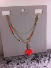 Topshop Necklace New Three Strand Tassels Gold Chain Beads Opaque