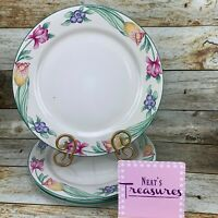 Oneida TULIP GARDEN Stoneware THE SELECT COLLECTION Blueberry Dinner Plate Set 3