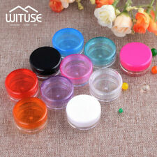 Make up Case Cosmetic Jars Mini Pots Tubs Empty Plastic Sample Holder Round 3/5g