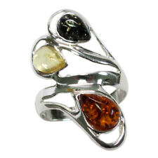 TRENDY MULTI COLOR NATURAL BALTIC AMBER 925 STERLING SILVER RING SIZE 5-10