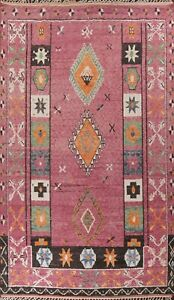 Geometric Moroccan Oriental Area Rug Hand-knotted Plush Wool Tribal Carpet 10x15