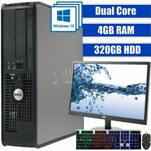 DELL DUAL CORE COMPUTER TOWER WINDOWS 10 4GB 320GB HDD 19 INCH MONITOR AND KBM