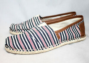 NWOT TOMS Men's Classic Canvas Loafer Size 12 Red White Blue Stripe
