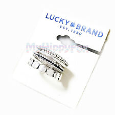 NWT Lucky Brand Antiqued Silver Tone Stack 4 Ring Set
