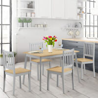 5 Pieces Mid Century Modern Dining Table Set 4 Chairs Wood Legs Home Kitchen