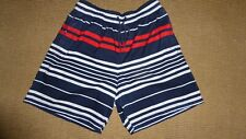 Mens Small Beach Shorts in Red, White & Blue Striped Polyester by M & S