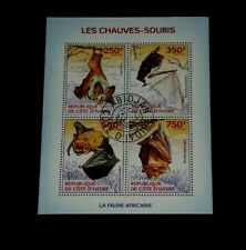 IVORY COAST, 2014, BATS, WILDLIFE, SOUVENIR SHEET/4, LOT #8, CTO, NICE LQQK