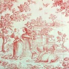 "New 100% Cotton Country French Toile de Jouy Fabric Red/Cream 104""W - 3 1/8 yds"